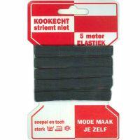 Elastiek 10mm kaart 5 meter zwart