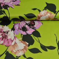 Stretch satijn bloemen lime groen John Kaldor