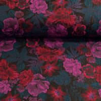Jacqaurd  bloemen donker blauw cerise rood