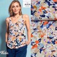 LMV modal mouseline bloemen print blauw oranje  La maison Victor
