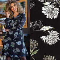Viscose krip bloemen zwart miss doodle
